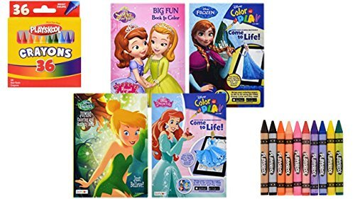 (4) Disney Coloring Books For Kids - Disney Fairies - Princess - Frozen - Sofia The First - Crayon Coloring and Activity Book - Coloring Fun ()