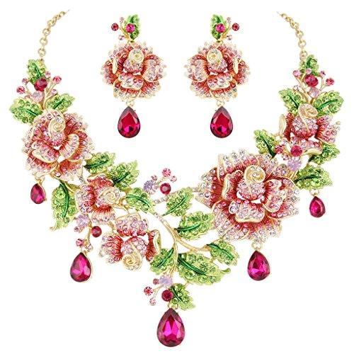 EVER FAITH Austrian Crystal Elegant Rose Flower Leaf Teardrop Neckalce Earrings Set Pink Gold-Tone (Crystal Flower Austrian)