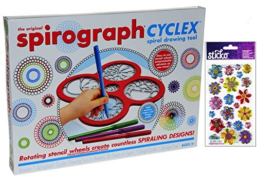 - Spirograph CYCLEX Spiral Drawing Tool Kit _ Bonus Colorful Vladis Flowers 3 Dimensional Sparkle Sticker Kit Set Of 23