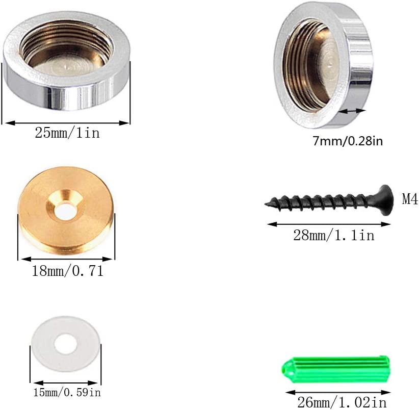 25 mm 4 clavos de espejo de acero inoxidable con tapas decorativas y tornillos de espejo YUE Qin