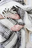 Throw Blanket Grey Heavy Queen Size Natural 100% Wool Plaid Cozy Warm