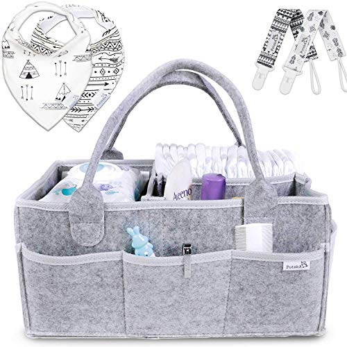(Putska Baby Diaper Caddy Organizer: Portable Holder Bag for Changing Table and Car, Nursery Essentials Storage bins gifts with 2 Pacifier Clips, 2 Bibs )