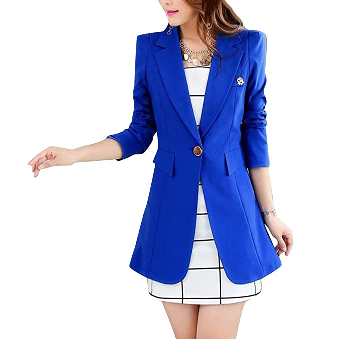 Mujeres Blazer Elegante Oficina Traje De Chaqueta Outwear Casual Manga Larga