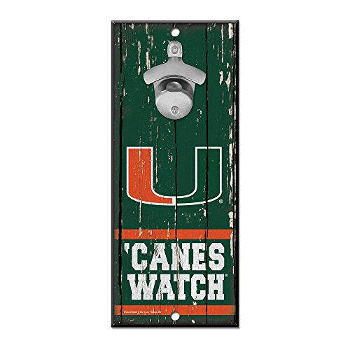 University of Miami Wooden Wall Mounted Bottle Opener