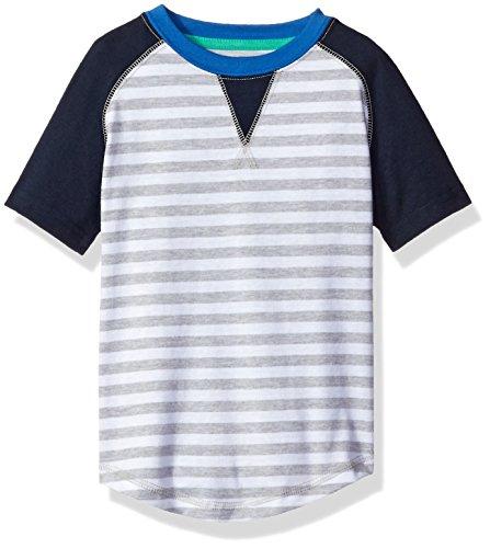 Sovereign Code Little Boys' Short Raglan Tee with Striped Print, White Stripe, 7 (Sovereign Tee)