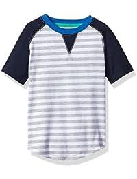 Boys Short Raglan Tee with Striped Print