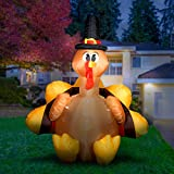 Holidayana 6ft Inflatable Turkey with Pilgrim Hat Thanksgiving Decoration | with Built-in Bulb, Tie-Down Points, and Powerful Built in Fan
