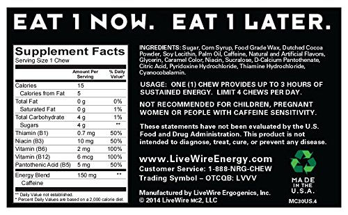 LiveWire Energy Chews 30-Count Mint Chocolate
