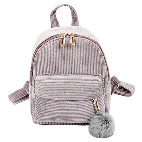 Girl Hairball Backpack Corduroy School Bag Student Satchel Travel Bag (Metallic Suede Handbag)