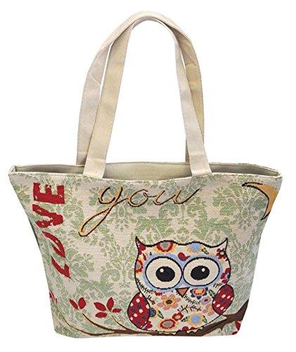 Borsetta borsa da spiaggia, shopping, importata da Tailandia, multicolore, motivi Gufi (42290)