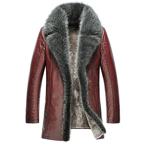 Cwmalls Custom Men's Fur Shearling Leather Coat CW852556 (Large, Wine)