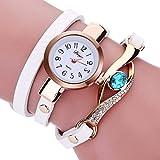 Axiba Women Diamond Wrap Around Bracelet Quartz Wristwatch Rhinestone Clock Ladies Dress Gift Watches (White)