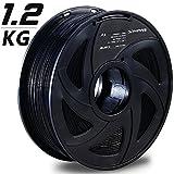 3D Printer Filament,Black 1.75mm PLA Printing Filament,1.2kg Spool,Dimensional Accuracy +/- 0.05mm