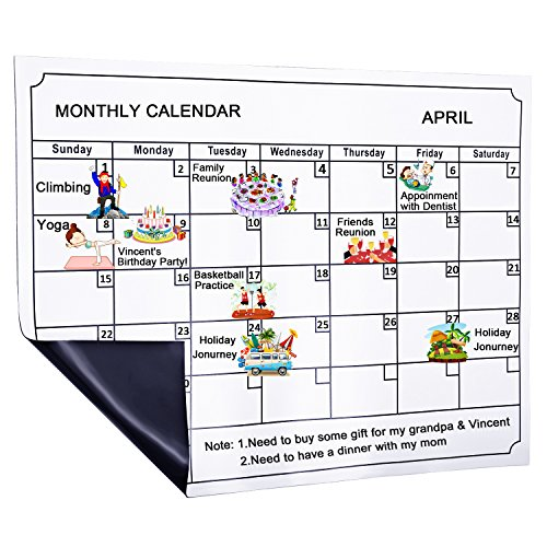Skydue Magnetic Dry Erase Calendar Board, Monthly White Board Planner for Refrigerator, 15.8'' 11.8'', White by Skydue