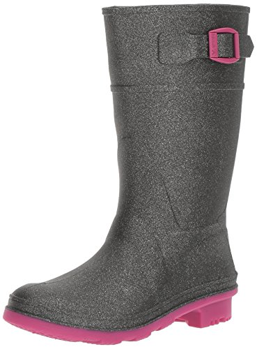 Girls Wellies - Kamik Girls' GLITZY/KIDS/CHA/4733 Rain Boot, Charcoal, 5 M US Big Kid