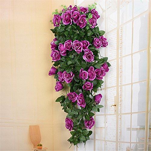 Haotfire Artificial Rose Garland Wall Hanging Silk Flowers Rattan Ivy Vine for Wedding Party Garden Decoration