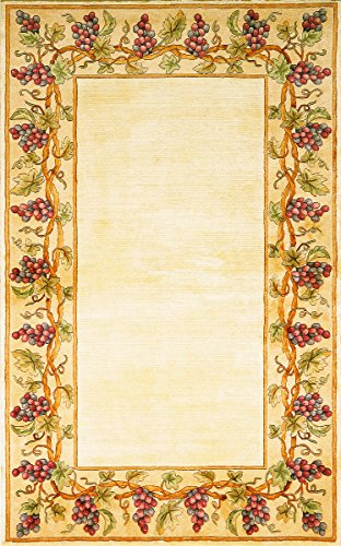 Kas Rugs 9058 Emerald Grapes Border Area Rug, 2 by 3-Feet, Ivory