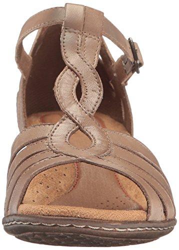Cobb Hill Donna Abbott Curvy T Sandalo In Pelle Color Kaki