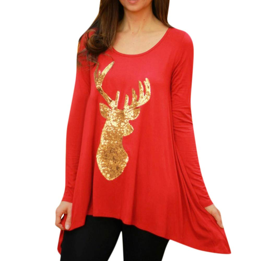 Pervobs Christmas Tunic Womens Reindeer Appliques Blouses T-Shirt Xmas Tops Tunic