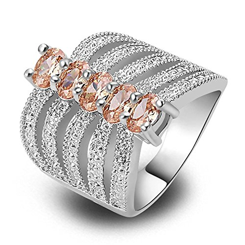 Veunora 925 Sterling Silver Created Morganite Filled Cocktail Ring Band for Women Size 6