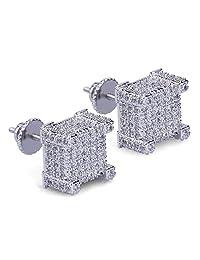 FB Jewels 925 Sterling Silver Yellow-tone Cubic Zirconia CZ 3D Hexagon Stud Unisex Screw Back Earrings