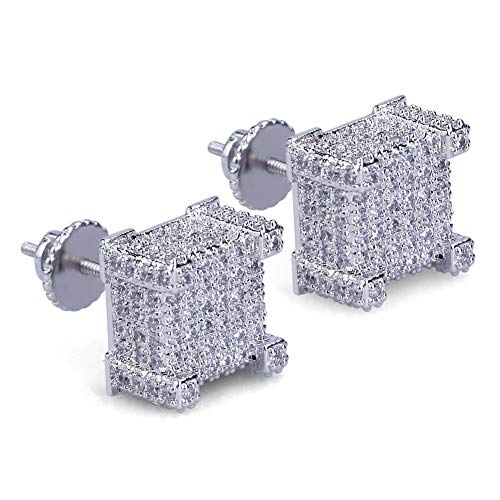 SENTERIA Iced Out Mens Earring Cubic Zirconia Cubist Screw Back 18k Yellow Gold/Silver Plated Hypoallergenic 3D Square Stud Earring for Men and Women Hip Hop Jewelry (Silver)