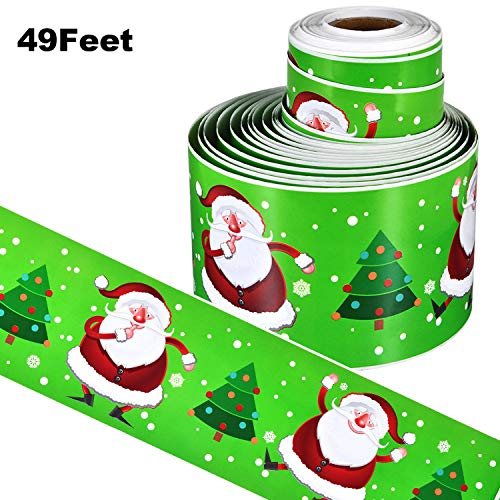 49 Feet Bulletin Board Borders Christmas Thanksgiving Decorative Stickers Confetti Teaching Press Border for Home School Classroom Display Decoration (Color 6) (Borders For Christmas)