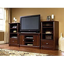 "Dual Tower Televison TV 50"" Entertainment Center and Media Stand Storage Towers in Cherry Wood."