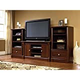 Dual Tower Televison TV 50 Entertainment Center and Media Stand Storage Towers in Cherry Wood.