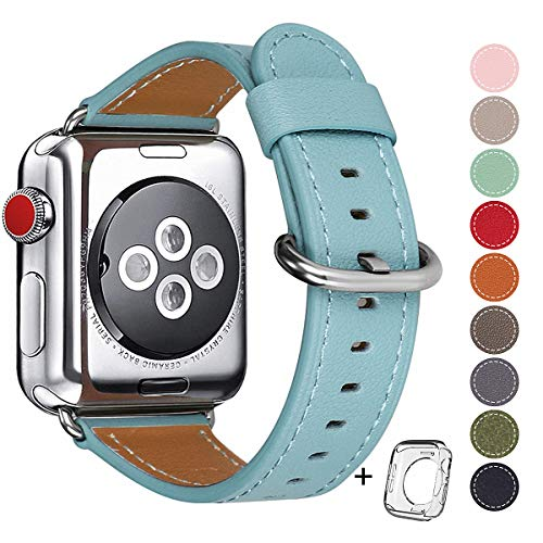 Compatible Apple Watch Band 38mm 40mm Women Top Grain Leather Band Replacement Strap iWatch Series 4,Series 3,Series 2,Series 1,Sport, Edition (Tiffany Blue Band+Silver Buckle, - Co And Tiffany