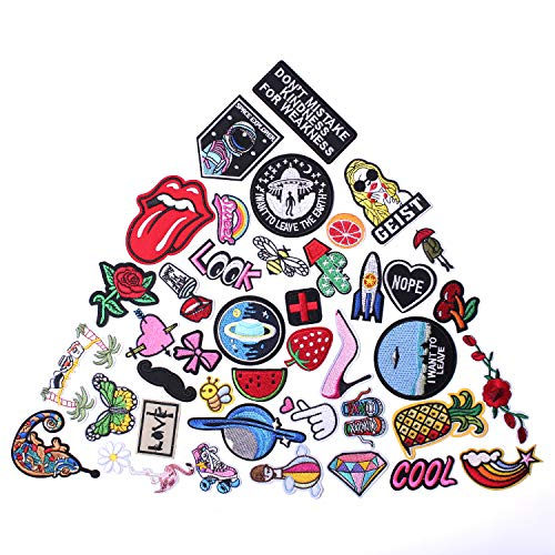 AXEN Assorted Styles Cool Embroidered Iron Patch on Cute Sewing Applique Applique for Jacket Hat Backpack Jeans Sewing Flowers Applique DIY Accessory (42PCS)