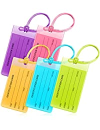 """Flexible Luggage Tags, Colorful Bag Tags (Multicolor, 4.2x2.2"""", 5 PK)"""
