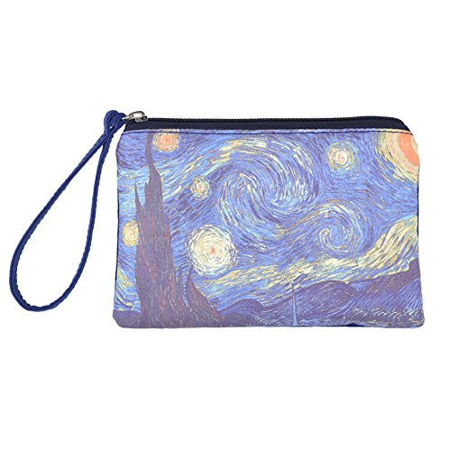 Rantanto Cute Canvas Cash Coin Purse, Make Up Bag, Cellphone Bag With Handle (BG0022 Vincent Van Gogh Starry Night)