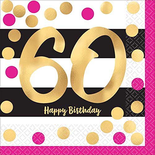 Over the Hill 'Hot Pink and Gold' 60th Birthday Lunch Napkins (16ct)