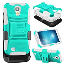 S4 Case, Galaxy S4 Case, HengTech (TM) [Full Body Protective] [Heavy Duty] Rugged Impact Armor Hybrid Kickstand Cover with Belt Clip Holster Case For Samsung Galaxy S4 i9500 (Turquoise / Grey)
