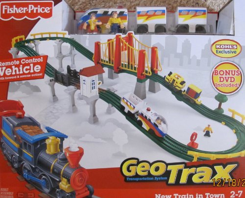 2009 Christmas Train (GEO TRAX GeoTrax REMOTE Control NEW TRAIN in TOWN SET w 2 TEAMS (FASTEST TEAM & CONFUSED TEAM), BRIDGES, DVD & More KOHL'S EXCLUSIVE (2009))