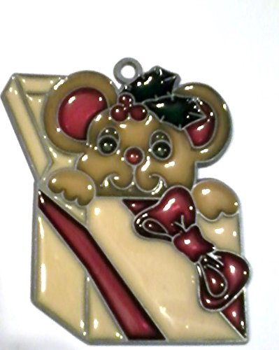 Stained Glass Teddy Bear in Box Window - Glass Teddy Bear Stained