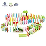 LEO & FRIENDS Wooden Dominoes Set for Kids-Building Blocks Educational Toys with Animal Shapes and Number/Letter Pattern