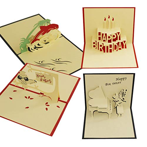 Happy Birthday Greeting Cards, Pop up Card, Pack of 4 Paper Craft for Wife Husband Kids Girlfriend Graduation Laser Cut Hand-Craft Greeting Cards Gift Dolphin Happy Birthday Candle Angel Piano Owl]()