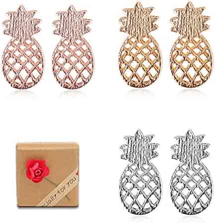 e04042455a8643 JETCA 3 Pairs Cute Pineapple Stud Earrings Fashion Fruit Jewelry Earrings  Set with Gift Box for