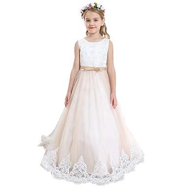 8344c05a78 Bow Dream Flower Girl Dress Vintage Wedding Communion Big Girls Tulle Lace  Princess Bowknot Evening Birthday