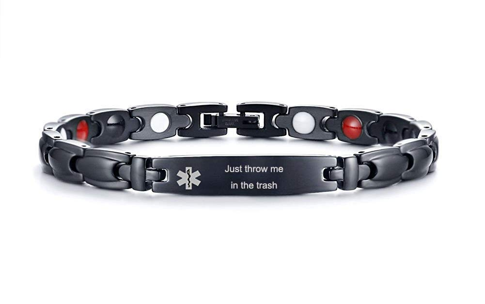 XUANPAI Free Engraving Personalized Stainless Steel Magnetic Therapy Medical Alert ID Bracelet Adjustable (Just Throw me in The Trash) by XUANPAI Bracelet
