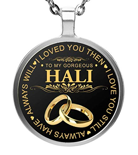 Lenox Sterling Silver Necklace - FamilyGift Name Necklace to My Gorgeous Hali Wife I Loved You Then I Love You Still Always Have Always Will - Pendent Necklace Silver Plated Silver Plated