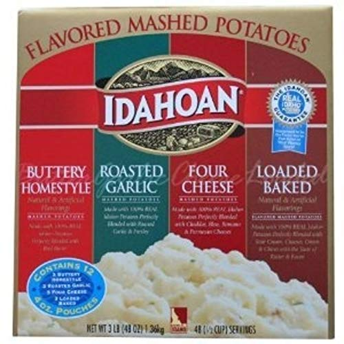 Idahoan Flavored Mashed Potatoes, Made with Gluten-Free 100-Percent Real Idaho Potatoes, Variety Pack of 12 Pouches (4 Servings Each)