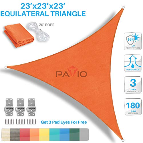 PATIO Paradise 23 x 23 x 23 Orange Sun Shade Sail Equilateral Triangle Canopy, 180 GSM Permeable Canopy Pergolas Top Cover, Permeable UV Block Fabric Durable Outdoor, Customized Available
