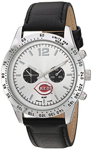 Game Time Men's 'Letterman'  Metal and Leather Quartz Analog Watch, Color:Black (Model: MLB-LET-CIN)
