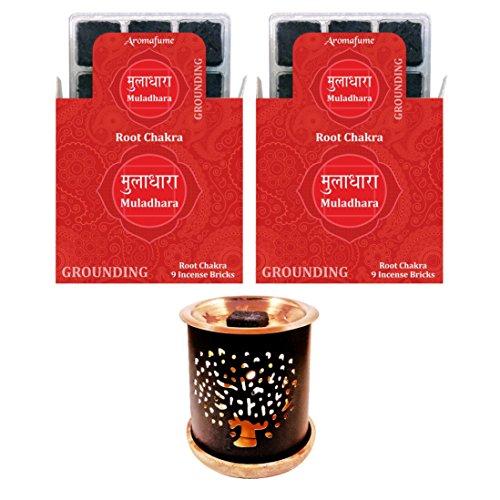 Aromafume 7 Chakra Muladhara Incense Bricks & Tree of Life Incense Burner