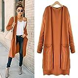 Hemlock Long Cardigan Coat Women, Pockets Sweater Ladies Knitting Cotton Cardigan Jacket Outerwear (S, Orange)