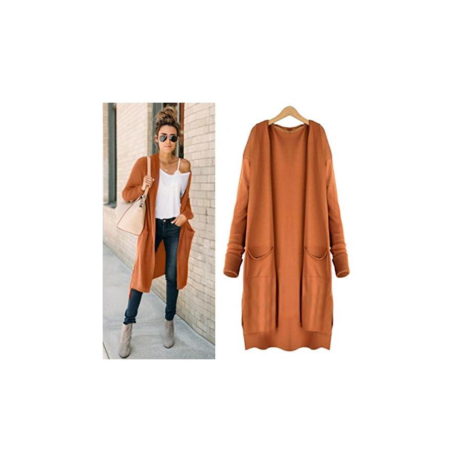 Hemlock Long Cardigan Coat Women, Pockets Sweater Ladies Knitting Cotton Cardigan Jacket Outerwear