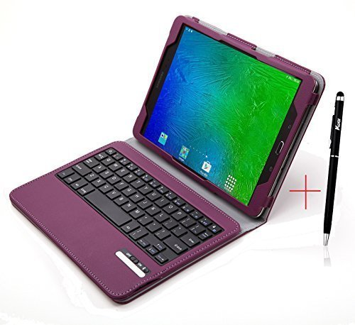 KuGi Samsung Galaxy Tab S2 9.7 Keyboard case, Ultra-thin Detachable Bluetooth Keyboard Stand Portfolio Case with stylus for Samsung Galaxy Tab S2 9.7 T810 T813 T815 T819 SM-T817A tablet.(Purple)